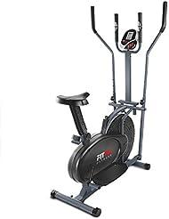 FITFIU BELI-120 Bicicleta Elíptica Multifunción con Pantalla LCD y Pulsómetro, Unisex adulto, Plata, Talla Única