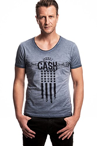 JOHNNY CASH - BANDIERA WINGS - OFFICIAL MENS T SHIRT - Blu, X-Large