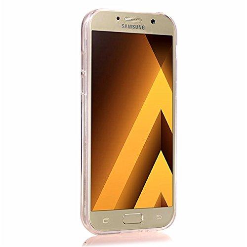 Luxe Coque Samsung Galaxy A3,Galaxy A3 2017 Housse Strass,Ekakashop Creative Design Rose Rouge Bling Shiny Brillant Paillettes Transparente Clair Cristal Clear Flexible Souple Case étui Rigide Defende Rouge