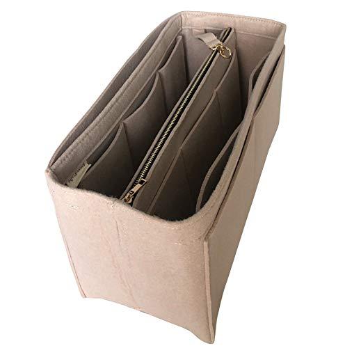 JennyKrafts Geldbeutel-Einsatz (3 mm Filz, Abnehmbarer Beutel mit Metall-Gold-Reißverschluss), Tragetaschen-Organizer -