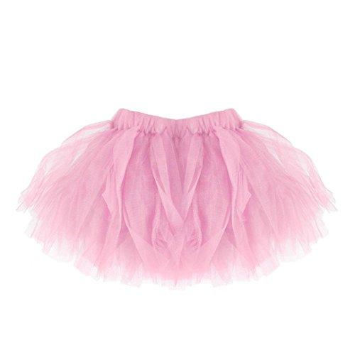 Sexy Mädchen Regenbogen Kostüm - FNKDOR Mädchen Tüll Rock, Tütü Minirock Tüllrock Petticoat Kurze Tutu Rock (Rosa)
