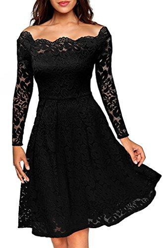 Damen Elegant Spitzenkleid Langarm Schulterfreies kleid Skaterkleid Cocktailkleid Abendkleid Schwarz...