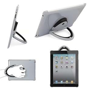 Coque Muvit Spinpad grise avec poignée support _ iPad 2