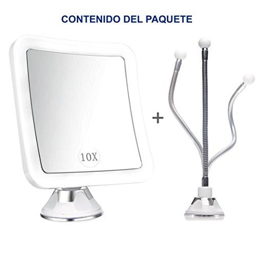 MarQvs Espejo Maquillaje/Afeitado con Aumento de 10x Luz LED  Poderosa Ventosa  Rotación 360º + Alargador Fijación de Cuello de Ganso Metálico de regalo  Espejo plegable para viaje  color Blanco