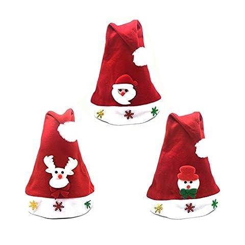 Jelinda Lot de 3 Pièces Chapeaux du Noël pour Enfants