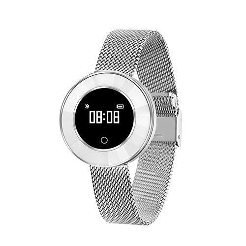 er Activity Tracker Uhr Pulsmesser Wasserdichte Bluetooth Weibliche Schrittzähler Blutdruck Dynamik Sport Armband,Silversteel ()