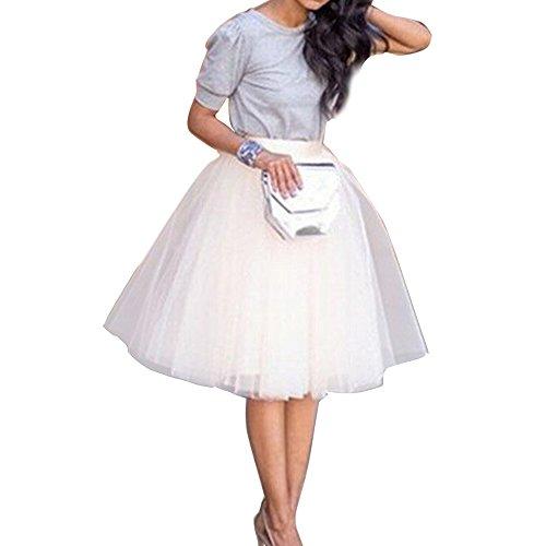 Damen Tüll rock tutu Tüllrock Unterrock Petticoat Knielang Falten Rock Tutu Organza weiß - 2