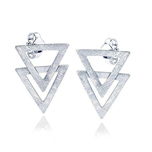 MATERIA Ohrstecker Dreieck - 925 Silber Ohrringe Damen silber matt gebürstet inkl. Etui #SO-221