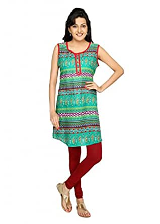 Srishti Fashion Cambric 100% Cotton Sleeveless Ladies Kurti - Green