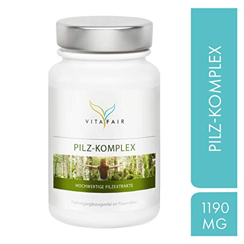 Pilz Komplex - 1190 mg pro Tagesdosis - 120 Kapseln - 23,5% bioaktive Polysaccharide - 7 hochwertige Pilzextrakte - Vegan - Ohne Magnesiumstearat - Made in Germany