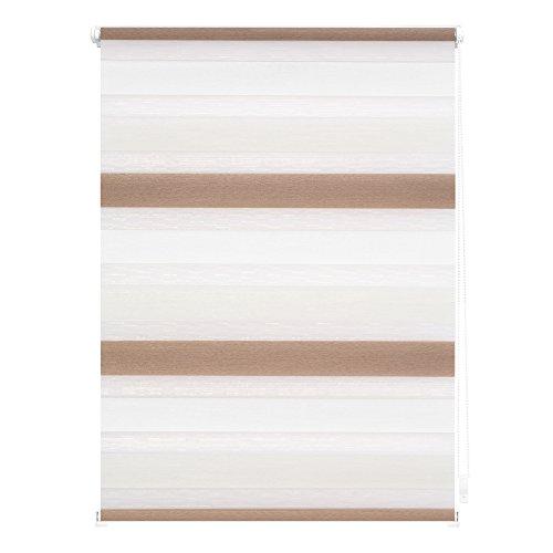 Lichtblick Duo-Rollo Klemmfix, 60 cm x 150 cm in Creme - Weiß - Braun, Doppelrollo für Fenster & Türen, moderner Sichtschutz, innovative Kombination aus Rollo & Jalousie