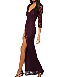 2014 Fashion Hot Neue Mode Elegante Damen Dreiviertel-Ärmel tiefen V-Neck Hohe Spalt Sexy Langes Abend-Partei Kleid