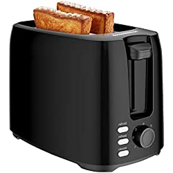 Bonsenkitchen Grille Pain 2 Tranches avec 7 Niveaux de brunissage et Plateau à Miettes, 750W, Toaster Auto-pop up avec Fonction de Dégivrage et de Réchauffer, Noir TA8901