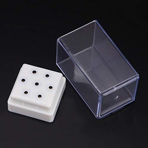 HoneybeeLY 7-Loch Leere Nail Art Schleifkopf Werkzeuge Show Box, Nail Art Schleifkopf Transparente Display Box Storage Rack Fall Für Datei Tipps Der Schleifmaschine -