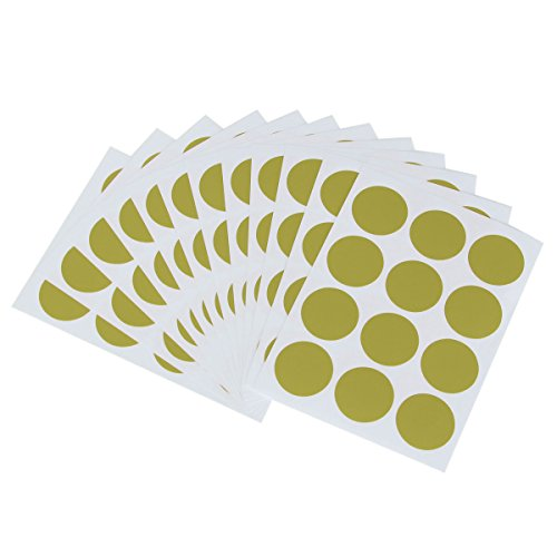 Bluelover 144Pcs 25Mm Rond Couleur Point Blank Prix Stickers Cercle Étiquettes Collantes Vinyle Tour Code Maison Decor-Or