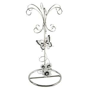 Juliana Glass & Wire- Black/Silver Flowers Jewellery Holder
