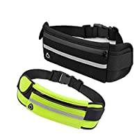 Running Belt Pouch Runners Fanny, 2 Pack Waist Bag for iPhone 11/11Pro/11Pro Max, iPhone X/XR/Xs, iPhone 8Plus/ 7Plus/ 6S 6Plus, Samsung Galaxy, Waterproof and Reflective, black + green