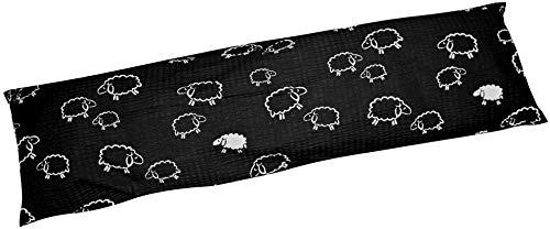 Heubergshop Seersucker Seitenschläferkissen Bezug 40x145cm - Kleine Schafe und Lämmer in Schwarz Weiß - Öko-Tex 100% Baumwolle Stillkissenbezug (SB-99/1)
