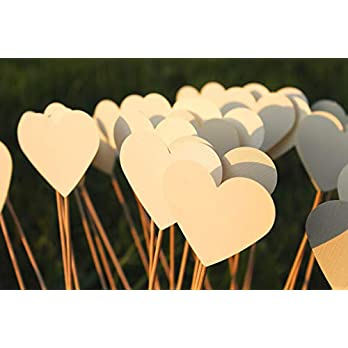 Herzstecker Steckherzen Spalierherzen Leinen Struktur creme mit Schimmer 50 Stück #1