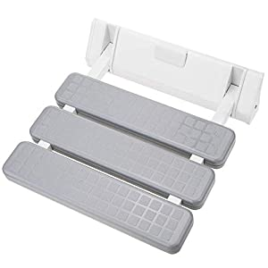 PrimeMatik – Asiento de Ducha abatible. Silla Plegable para Ancianos de plástico y Aluminio Gris 320x328mm