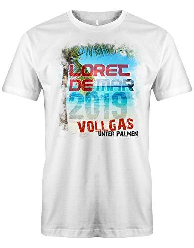 Jayess - Spanien Herren Shirt - Loret de Mar - 2019 Vollgas unter Palmen - Weiß - Gr. L
