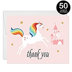 Magical Unicorn Thank You Cards with Envelopes ( Pack of 50 ) Pink Castle Folded Blank Thank You Notecards Little Girl Daughter Child Kids Birthday Party Gift Thanks Gracias Excellent Value VT0043