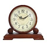 Visualizza orologio da camino Orologio da tavolo retrò classico, orologio da scrivania muto Orologio for la casa Orologio con lente in vetro HD alimentato a batteria antiriflesso, facile da leggere pe