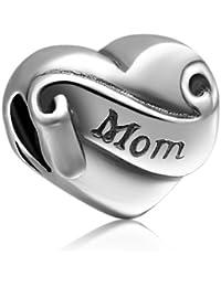 Soufeel Mutter Damen-Bead 925 Sterling-Silber Mom Bead Herz I love You Bead Charm