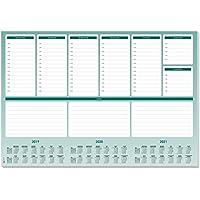 Sigel HO500 Vade, bloc de notas, diseño planning semanal con horarios y calendario trianual, 59,5 x 41 cm, verde y blanco, 52 hojas