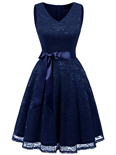 IVNIS RS90025 Damen Ärmellos Vintage Spitzen Abendkleider Cocktail Party Floral Kleid Navy Blue M