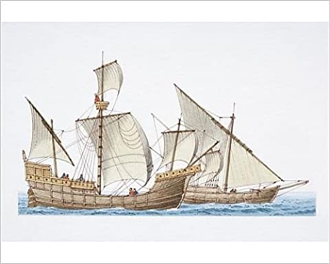 Photographic Print of The 1492 ship Santa Maria and her sister ship Nina, side view