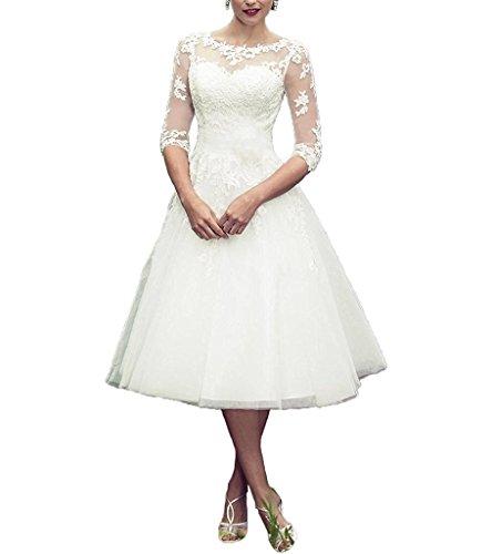 AZNA Damen Eine Linie Spitze Tulle Illusion Ausschnitt Brautkleid Prom Kleid Tee Länge Halbe Ärmel...