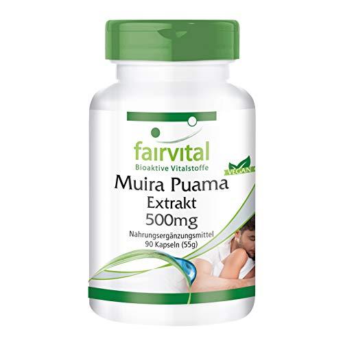 Muira Puama 500mg Extrakt - für 1 Monat - VEGAN - HOCHDOSIERT - 90 Kapseln - 10-fach konzentriert