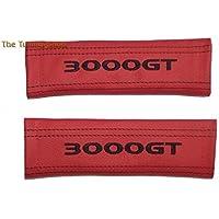 2x cintura Covers Pads Spalla Rosso in pelle nero per Mitsubishi 3000GT (Mazda 6 Oem Sostituzione)