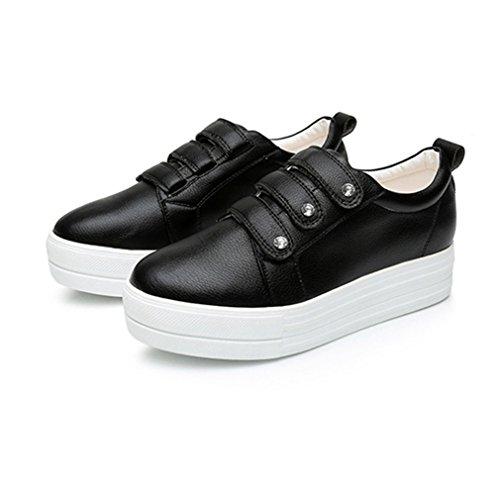 Femme Chaussure à Haute Compensé Plat sans Lacets Cuir Basket Casual Noir