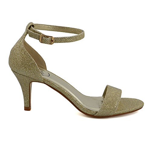 Womens Low Heel Sandals Peep Toe Stiletto Ladies Glitter Strappy Party Shoes...