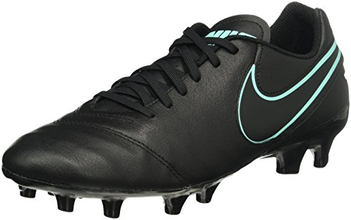Nike - Tiempo Genio Ii Leather Firm Ground, Scarpe da Calcio Uomo, Nero (Black/Black), 42.5 EU