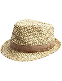 Accessoryo - Unisexe chapeau tissé paille trilby disponible dans une sélection de tailles