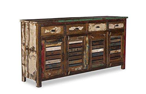 Woodkings Sideboard Wakefield 4tür, recyceltes Massivholz antik, Anrichte vintage, Design Kommode 4 Schub, exclusiv, günstig,180cm