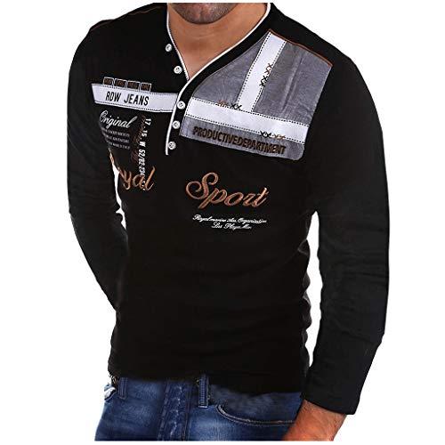 Realde Herren Langarm Hemd und KurzarmT-Shirt Cool Briefdruck Mehrfache Farben V-Ausschnitt Langarmshirt Passt super auch zur Jeans Männer BequemTops Oberteil Größe S-XXXL - T-shirt Classic Palmen