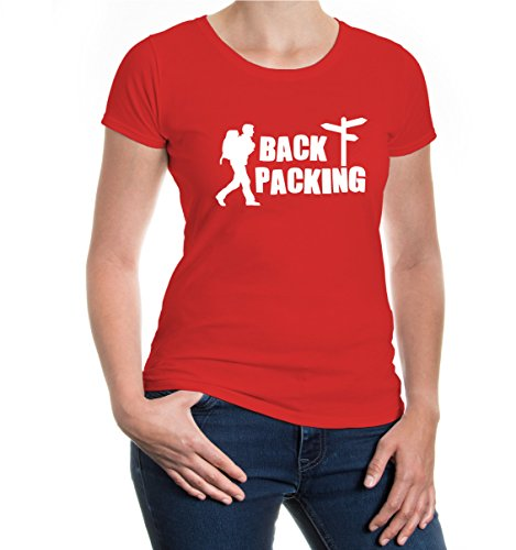 Womens Rucksack Backpacker (Girlie T-Shirt Backpacking-XXL-Red-White)