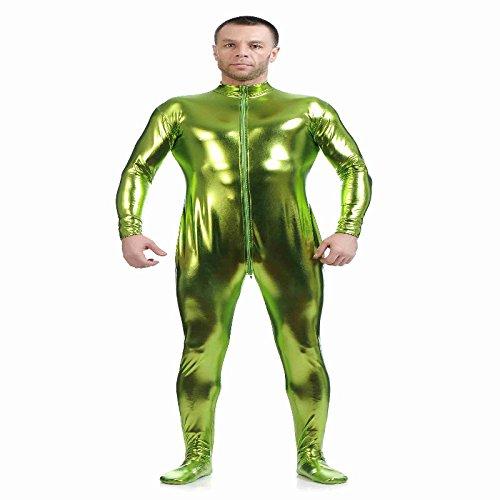 Fenteer Herren Second Skin Kostüm Ganzkörperanzug Overallkostüm Catsuit Ganzkörper Fasching Karneval - grün, l