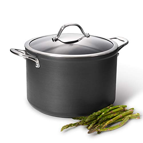Picture of ProCook Professional Anodised Non-Stick Stock Pot with Lid - 20cm / 4.4L - Induction Pan with Toughened Glass Lid and Heat-Resistant Handles