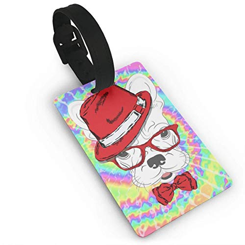 Gepäckanhänger mit Namensausweis Personalausweis Mr. Dog Wear Red Hat Glasses Bow Tie Plastic PVC Luggage Tags Suitcase Labels Travel Bag ID Tags (Ties Bow Red Bulk)