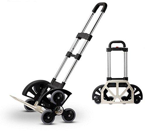 HCC& Einkaufswagen Dolly Zusammenklappbar Tragbar Aluminiumlegierung Wagen Die Treppe heraufsteigen Rollende Schwenkräder Verstellbarer Griff Lebensmittel-Auto (Anhängerkupplung Dolly)