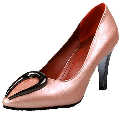 AgooLar Femme Mosaïque Matière Souple à Talon Haut Tire Pointu Chaussures Légeres Rose