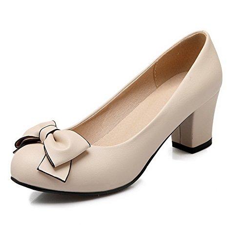 AgooLar Femme Rond Tire Matière Mélangee Couleur Unie à Talon Correct Chaussures Légeres Beige