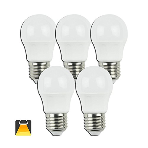 Aigostar - Pack de 10 Bombillas LED G45 de 5 Watios, casquillo gordo (E27), 390 lumen y luz fria (6400K) [Clase de eficiencia energética A+]
