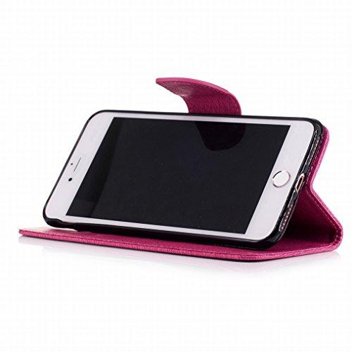 Custodia Apple iPhone 7 Plus Cover, Ougger Farfalla Stampa Portafoglio PU Pelle Magnetico Morbido Silicone Flip Bumper Protettivo Gomma Shell Borsa Custodie con Slot per Schede (Blu) Rosa