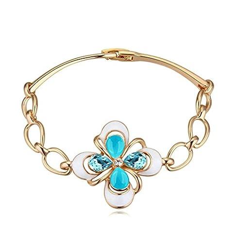 Aooaz Damen Versilbert Armbands Kreuz Hell Blau Kristall Armreif Extender Kette CZ Hochzeit Armband